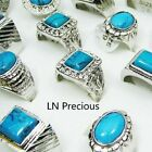 5pcs-50pcs wholesale jewelry Turquoise Men's silver plated Rings free shipping