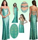 $398 La Femme #17369 Sequin Strapless Crossback Green Dress Gown 10
