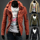 Mens Stylish Double Collar Overcoat Winter Trench Coat Slim Fitted Jacket Tops