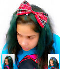 Tartan Big Hair Bow Forehead Head Band Hipster Festival Indie Grunge -choice