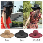 Ladies Soft Floppy Wide Brim Cloche Fedora Dress Hat Retro Wool Bowknot Band