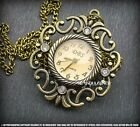 *NEW VINTAGE STYLE ROME & HOLLOW & FLOWER* FOB POCKET WATCH PENDANT NECKLACE