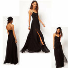 Hot Sale lady Double Skirt Dress  Floor Length Evening Party Chiffon Maxi Dress