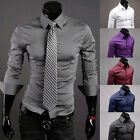 IN SIZE S M L XL New Mens Luxury Casual Slim Fit Stylish Dress Shirts 6 Colors