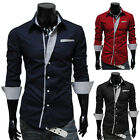 Fashion Decent Mens Button Front Long Sleeve Slim Fit Shirts Korean Style Tops