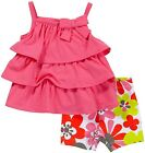 Carter's baby girl's Playwear 2pc set Ruffled top/Shorts Pink/Flowers 12M 18M 2T