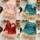 Lovely Casual Baby Girls Knit Top Kids Lace Bow Princess Tutu Dress 0-3Y Clothes