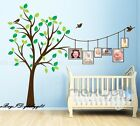 Huge Baby Cot Side Photo Frame Bird Tree Wall decals stickers Kids Family decor