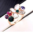 New 18K Rose Gold Plated Crystal Multi-Colored Flower Ring GP Type