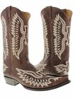 Men's cowboy boots tobacco leather western biker rodeo phoenix eagle motorcycle