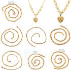 Fashion 18k Yellow Gold Filled Men Womens Necklace Pendant Chain Link Jewelry