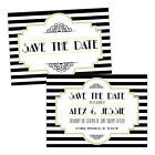 Personalised Save the Date cards BLACK WHITE 1920'S ART DECO FREE ENVELOPES & DR