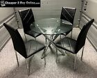 DINING TABLE AND CHAIRS ROUND GLASS TABLE WITH BLACK FAUX LEATHER CHAIRS NEW