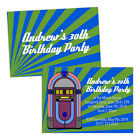 Personalised birthday party invitations RETRO BLUE JUKEBOX MAN FREE ENVELOPES &