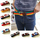 NEW PLAIN UNISEX COTTON CANVAS STRIPE FABRIC WEBBING SILVER MOVE BUCKLE BELT