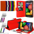 10 Colour Leather Stand Wallet Flip Mobile Phone Case Cover For Motorola Moto E
