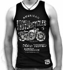 American Custom Cycles Route 66 Biker Harley Men Muscle T Tank White On Black
