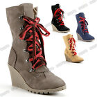 New Womens Lace Up Zip Mid Calf Boots High Top Ankle Wedge Heels Booties Shoes