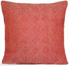Red Woven Cushion Cover Square Home Décor Pillow Case Pierre Frey Fabric Lines