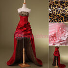 Strapless Hi-lo Bridal Prom Dresses Formal Evening Gowns Leopard Party Dresses