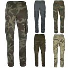 """MENS MULTIPOCKET COMBAT CAMOUFLAGE & PLAIN TROUSERS ARMY STYLE BOTTOMS 30"""" - 42"""""""