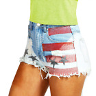 USA Stars Stripes Distressed Raw Frayed Edge Denim Shorts Hotpants Size  Womens