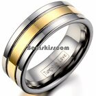 Men's 8mm Silver Tungsten Carbide Ring Gold Tone Stripe Center Wedding Band image