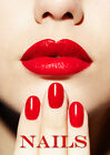 Nails Poster, Lips , Beauty, Red Make up A3 A4 Print POSTER
