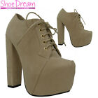 B3G Ladies Beige Suede High Heel Platform Lace Up Ankle Boots Womens Shoes Size