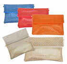 Laser cut Faux Leather Envelope Clutch Bag Fold over Zipped Elegant Fashion