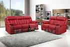 NEW PRADO 3+2+1 SEATER BONDED LEATHER RECLINER SOFA SUITE, BLACK, BROWN OR RED