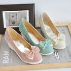 Womens Sweet Bowknot Wedge Low Heel Pumps Court Casual Loafers Moccasins Shoes