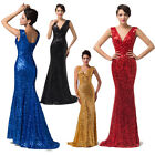 Sexy Celebrity Black Gold Red Blue Sequin Long Party Evening Cocktail Dress Gown