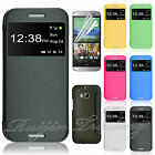 Ultra Thin flip Leather Crystal Clear Case Cover Protector For HTC ONE 2 M8 2014