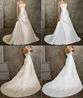 New Beading Strapless A Line Satin Train Wedding Dress Size 6 8 10 12 14 16 18