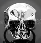 Stainless Steel Men's Cool Skull Silver Skull Head Ring Punk New Jewelry