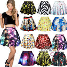 NEW Womens High Waist Pleated Digital Print Short Mini Skirt Skater Flared Dress