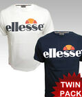 Ellesse Heritage 80s Retro Logo T-shirts TWIN PACK in Navy /White - M,L,XL,2XL
