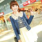 Hot New Fashion Women's Tops Vintage Long Sleeve Lace Collar Denim Jeans Jacket