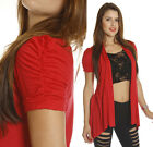 SML Red Draped PUFF Ruched Short Sleeve Knit Layering Jacket Open Front Cardigan