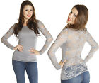 Light Gray Sheer Full LACE BACK Floral Long Sleeves Stretch Casual Tee Shirt Top