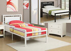 Clean Lines Modern Black White Metal Frame Faux Leather Headboard Twin Full Bed