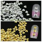 about 500pcs Silver Gold Alloy Metal Heart Shape Stud Bead 3D Nail Art Accessory