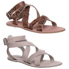 WOMENS LADIES NUDE LEATHER STRAP GLADIATOR SANDLES BUCKLE BEACH EVENING SIZE 3-8