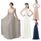 Long Beaded Chiffon Ball Prom Wedding/Evening Bridesmaid Gown Dress UK SZ 6-20