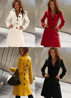 New Women's Slim Fit Wool Blend Open Cut Long Trench Belted Coat Jacket 4 Color