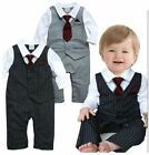 Baby Toddlers Formal Christening Wedding Suit Waistcoat Black Complete Outfit