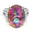 13ct LUXURY Genuine Fire Rainbow Topaz Ring Solid 925 Sterling Silver Sz 6 7 8 9