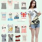 WHIMSY Short Sleeve Basic Cotton Blend TEE SHIRT Crew Round Neck Casual T-Shirt