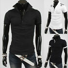 Vogue Collar Men Short Sleeve Casual T-Shirts Korean Slim Fit POLO Tee Tops MOU